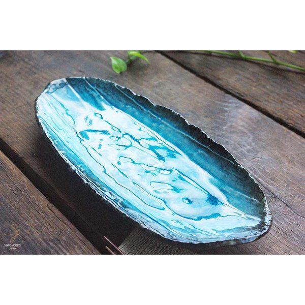 簡単イタリアン 真鯛のフレッシュカルパッチョ さんま皿 焼き物 楕円オーバル 33.5cm スカイ トルコブルー水色 青釉 和食器 角長皿 美濃焼 小鉢 釉薬 和 釉薬 |cocottepot|02