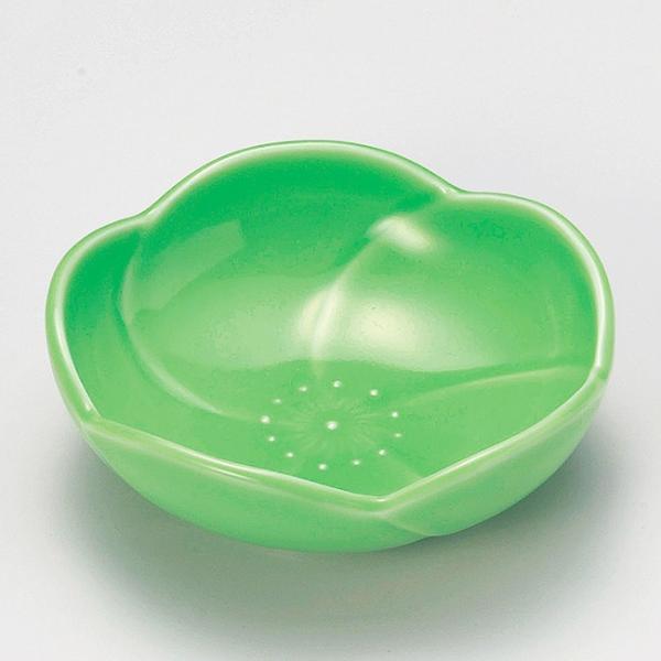 和食器 小さな梅 小皿 豆皿 豆皿 グリーン 緑 11.2×11.2×3.9cm うつわ 陶器 おしゃれ おうち