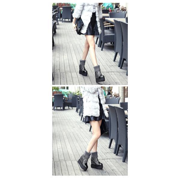 ブーツ 厚底 キラキラ グリッター ソックスブーツ ストレッチ XYG082559 SPJ092540