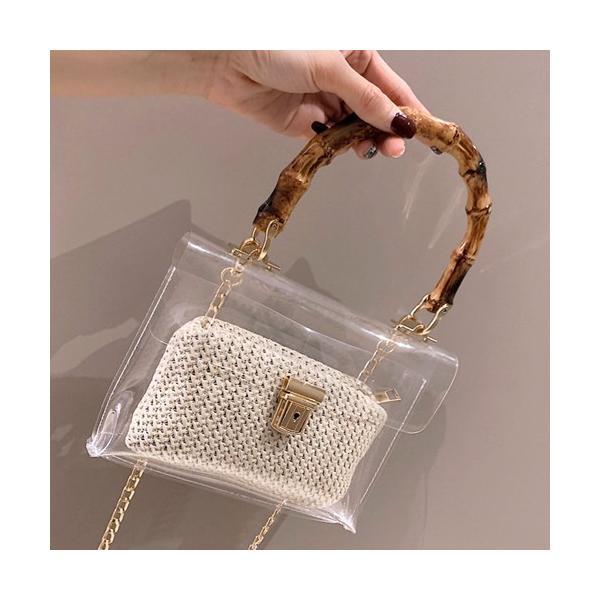 バッグ ショールダーバッグ 透明 クリア チェーン ハンドバッグ キャンバス 鞄