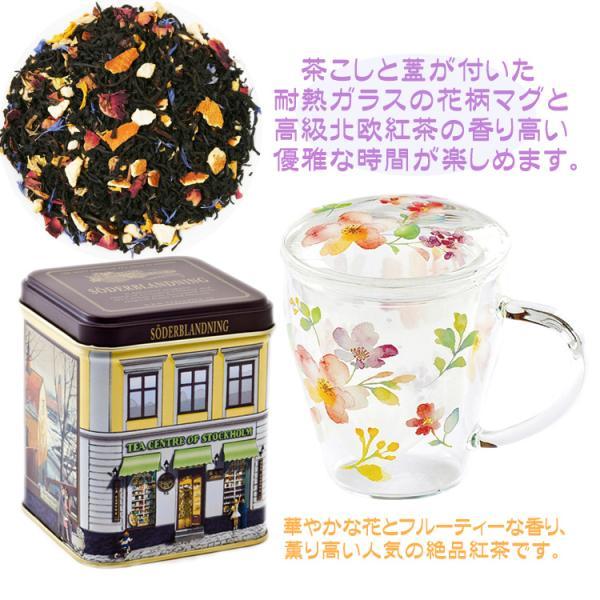 北欧紅茶セーデルブレンド紅茶缶100gおしゃれ耐熱ガラス蓋付きマグカップ花柄ギフトボックス母の日誕生日