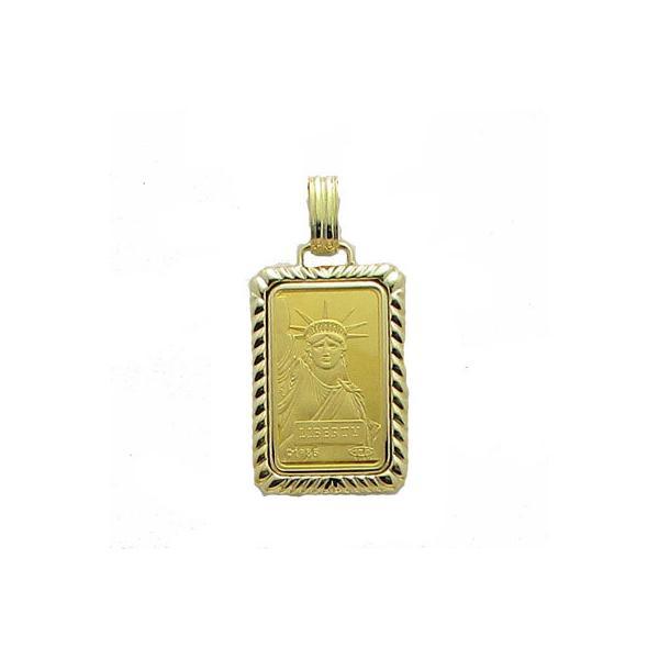 【代引き手数料、送料無料】<BR>人類の永遠の象徴を純金でレリーフした傑作   <BR>信頼のクレジットスイスの自由の女神10gペンダント
