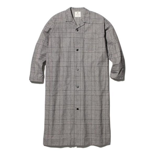 スノーピーク ナシジ ロングシャツジャケット グレンチェック レディース メンズ 梨地 アウトドア ブラウン ブラック S M L JK-19AU207|coldbeck