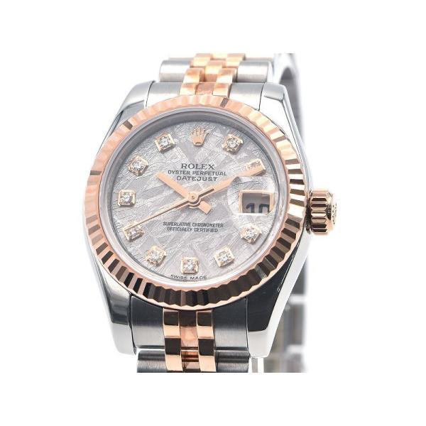 3年保証 ロレックスレディースデイトジャスト179173GV番K18PGメテオライトダイヤインデックス自動巻き腕時計中古