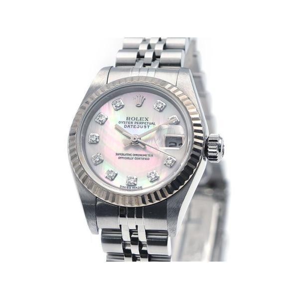 3年保証 ロレックスレディースデイトジャスト79174NGY番K18WGダイヤOH/新品仕上済シェル文字盤自動巻き腕時計中古