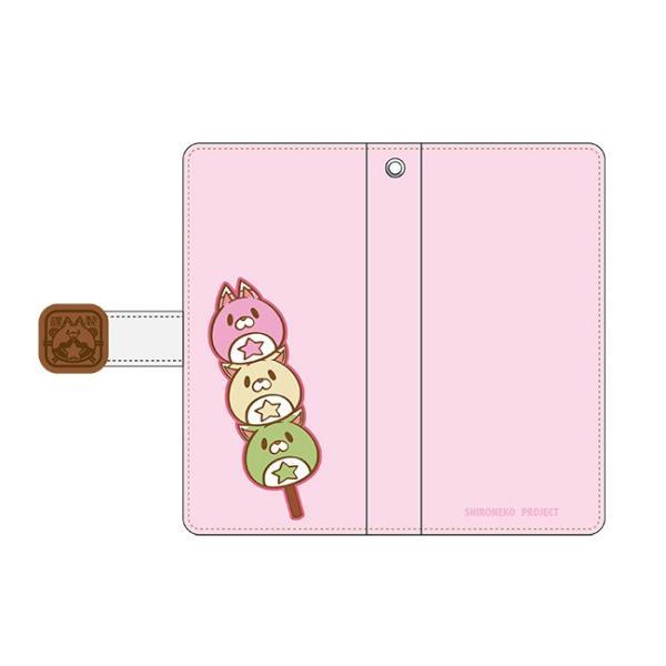 手帳型スマートフォンケース 和風星たぬき 三色だんご ピンク|colopl-store