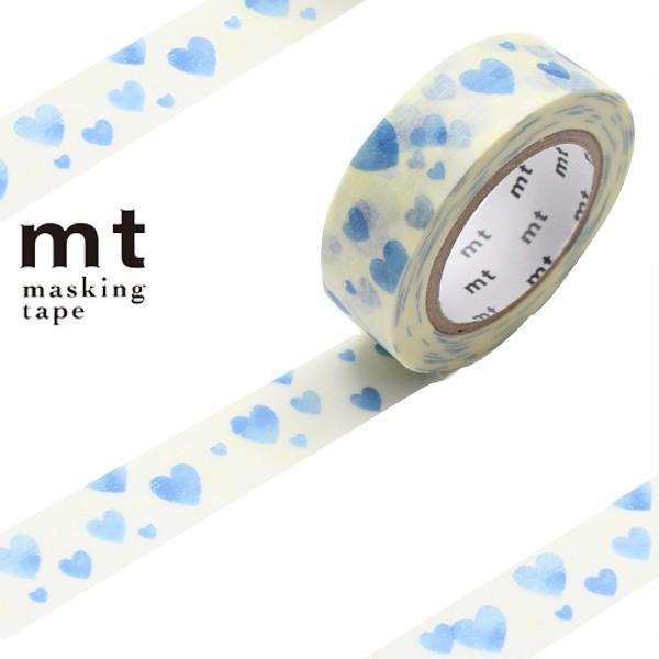 マスキングテープ mt 1P ハート スタンプブルー 幅15mm ( カモ井加工紙 マステ 和紙テープ )