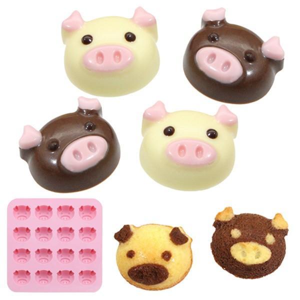 チョコレート型 こぶた シリコン型 16個取 ( チョコ シリコン製 製菓道具 グミ 型 ブタ 豚 )