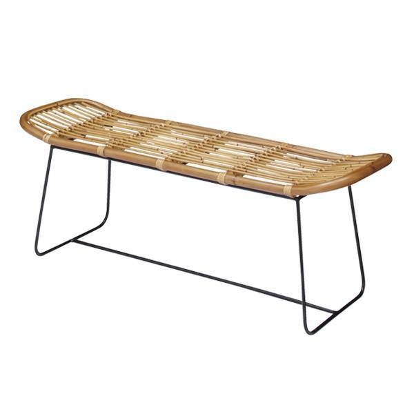 ラタンベンチ 2人掛け 長椅子 アイアンフレーム 籐家具 幅121cm ( チェア 椅子 ベンチ )