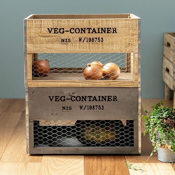 収納ボックス ベジウッド ボックス L コンテナ 木製 天然木 持ち手付き ( スタッキング 積み重ね 木箱 アンティーク 野菜ストッカー 収納 )