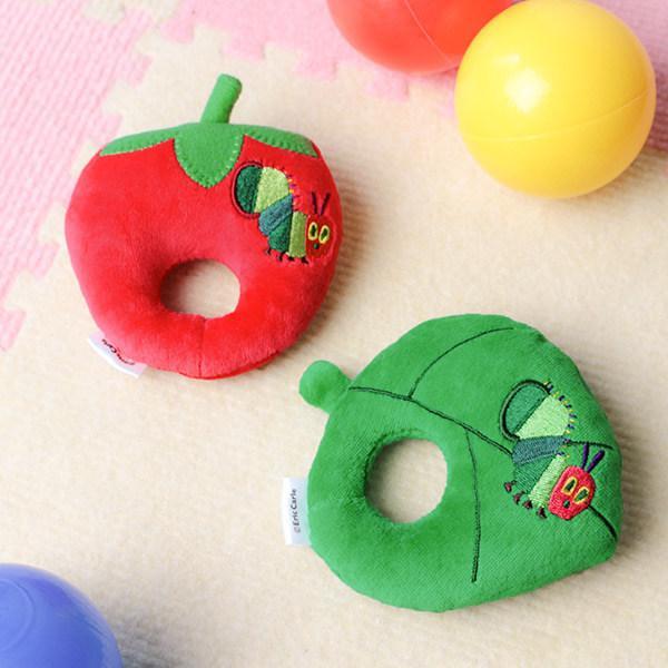 ガラガラ はらぺこあおむし 葉っぱ 苺 ラトル おもちゃ 玩具 赤ちゃん キャラクター ( にぎにぎ がらがら 鈴入り ベビーラトル ファーストトイ ベビー用品 )