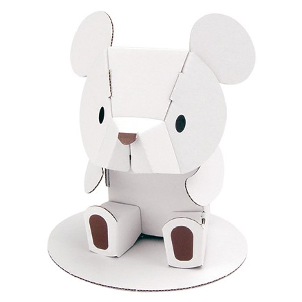 ダンボール おもちゃ くま ホワイトくまちゃん 工作 子供 組立 ( 工作キット ペパークラフト ペーパーアート キット 動物 )