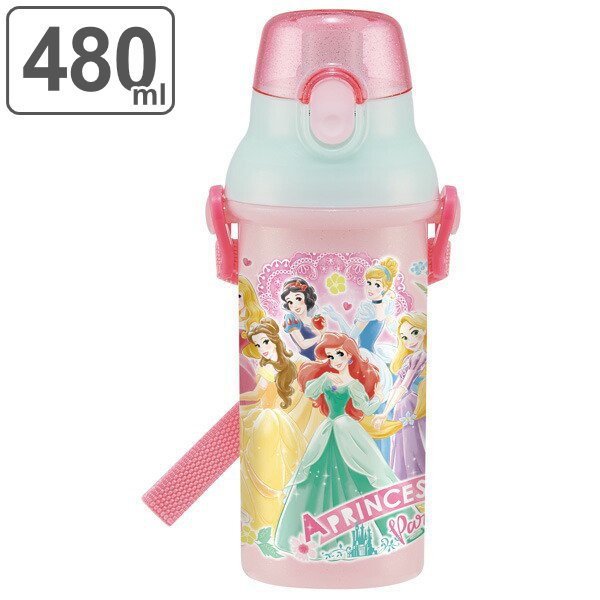 水筒 抗菌 プラスチック 直飲み ディズニー プリンセス プラワンタッチボトル 480ml 軽量 子供 ( ディズニープリンセス 食洗機対応 すいとう キッズ )