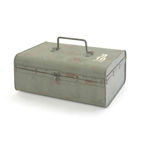 ガーデニング収納 ティンメタルボックス B サビ加工 ( 工具箱 道具箱 ブリキ 収納 ツールボックス 収納ボックス )