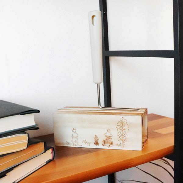 粘着 クリーナー MOOMIN 粘着クリーナー&ケースセット ハンディ 角型 木製 ( カーペットクリーナー 粘着シート ケース 収納 入れ スタンド )