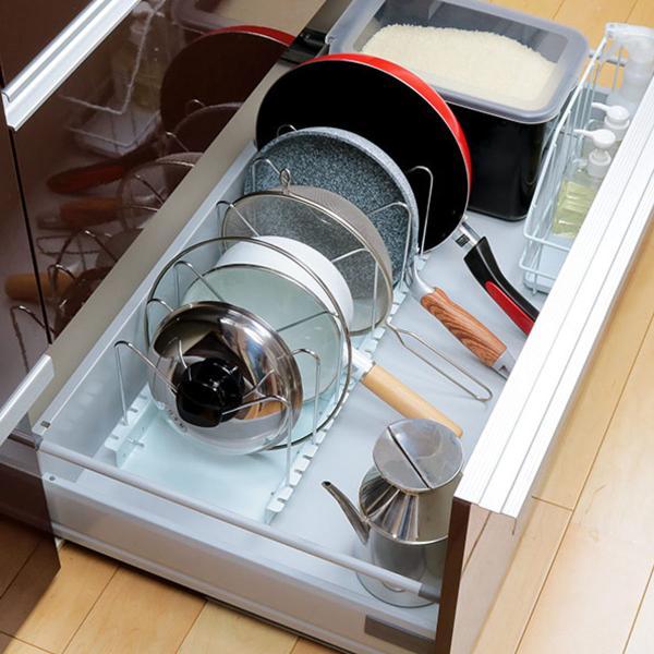 フライパン収納 フライパン・鍋フタスタンド 伸縮式 ソロエルスマート Soroelusmart ( フライパンスタンド 鍋フタスタンド シンク下収納 鍋蓋立て )
