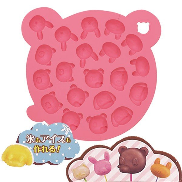 チョコレート型 チョコ・アイスモールド シリコン製 アニマル ピンク ( お菓子作り 製菓用品 製菓道具 )