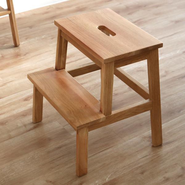 踏み台 高さ47cm ステップ台 天然木 木製 オーク材 スツール 腰掛 ( 2段 玄関 チェア イス いす チェアー 木製スツール 木製チェア 腰掛け 踏台 )
