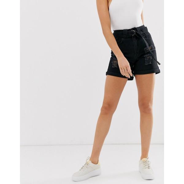 ブーフー ショートパンツ レディース Boohoo denim mom shorts in black エイソス ASOS ブラック 黒