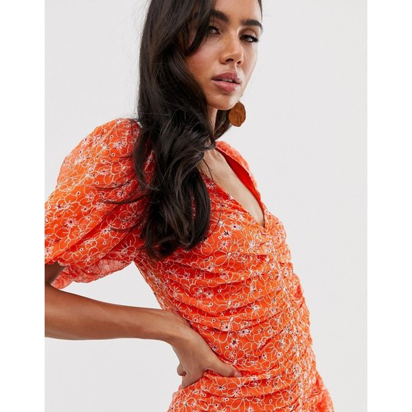 エイソス マキシドレス レディース ASOS DESIGN ruched maxi dress in floral embroidery エイソス ASOS レッド 赤