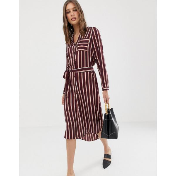 ヴェロモーダ ミディドレス レディース Vero Moda stripe midi shirt dress エイソス ASOS レッド 赤