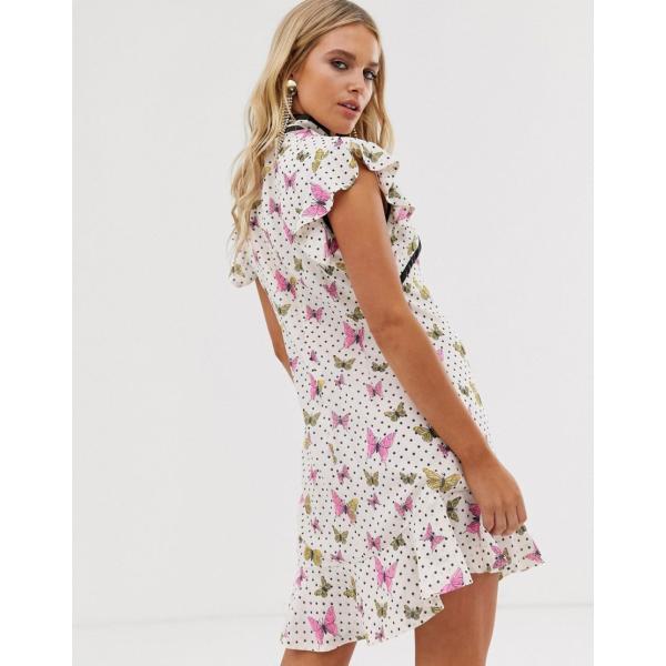 シスタージェーン ミディドレス レディース Sister Jane mini dress with peplum hem and frogging in butterfly spot エイソス ASOS