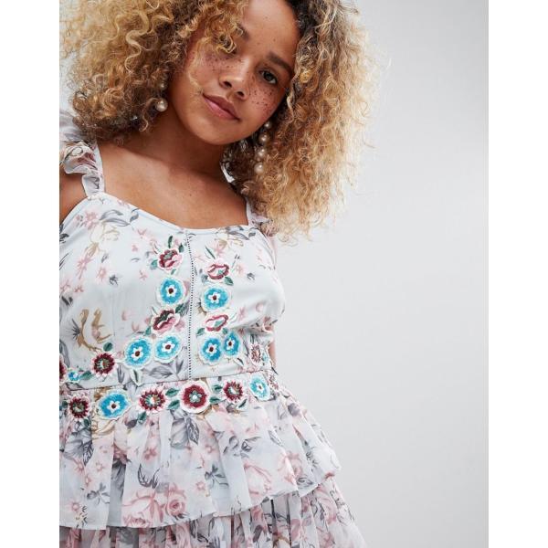 エイソス ミディドレス レディース ASOS DESIGN Petite floral tiered embroidered mini dress エイソス ASOS