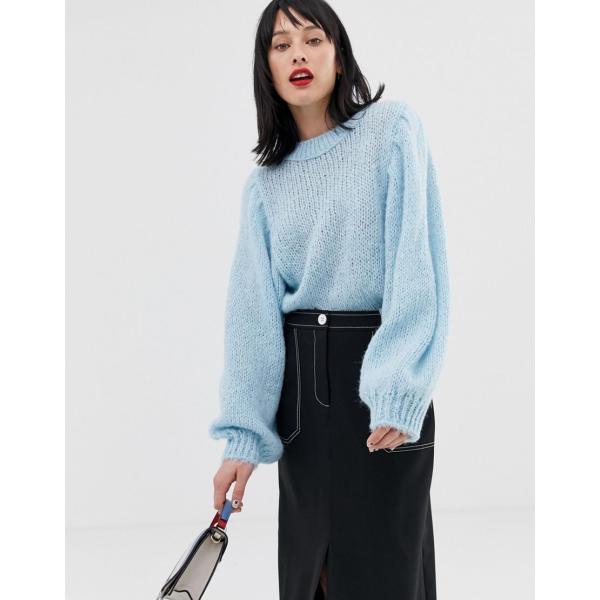 エイソス ニット カーディガン レディース ASOS DESIGN jumper in lofty yarn with volume sleeve エイソス ASOS|colors-kira