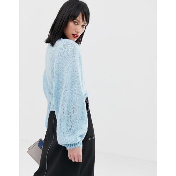 エイソス ニット カーディガン レディース ASOS DESIGN jumper in lofty yarn with volume sleeve エイソス ASOS|colors-kira|02