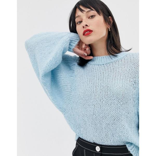 エイソス ニット カーディガン レディース ASOS DESIGN jumper in lofty yarn with volume sleeve エイソス ASOS|colors-kira|03