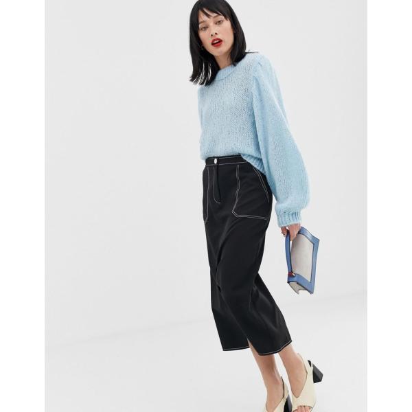 エイソス ニット カーディガン レディース ASOS DESIGN jumper in lofty yarn with volume sleeve エイソス ASOS|colors-kira|04