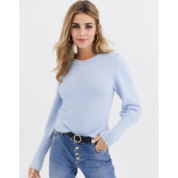 ミスセルフリッジ ニット カーディガン レディース Miss Selfridge jumper with puff sleeves in blue エイソス ASOS ブルー 青|colors-kira