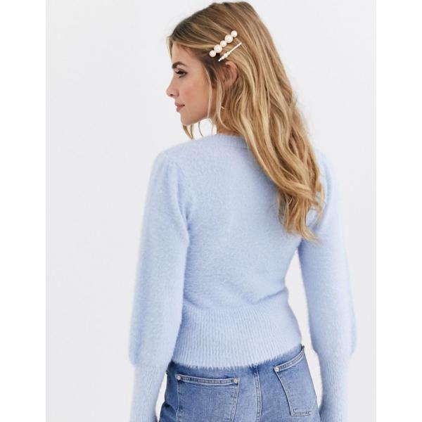 ミスセルフリッジ ニット カーディガン レディース Miss Selfridge jumper with puff sleeves in blue エイソス ASOS ブルー 青|colors-kira|02