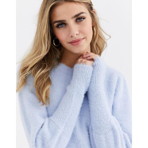ミスセルフリッジ ニット カーディガン レディース Miss Selfridge jumper with puff sleeves in blue エイソス ASOS ブルー 青|colors-kira|03