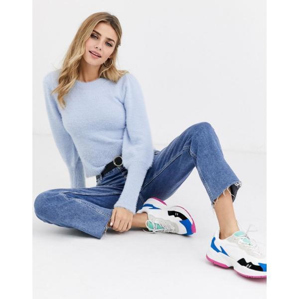 ミスセルフリッジ ニット カーディガン レディース Miss Selfridge jumper with puff sleeves in blue エイソス ASOS ブルー 青|colors-kira|04