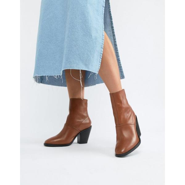 エイソス ブーツ レディース ASOS DESIGN Elexis leather ankle sock boots エイソス ASOS