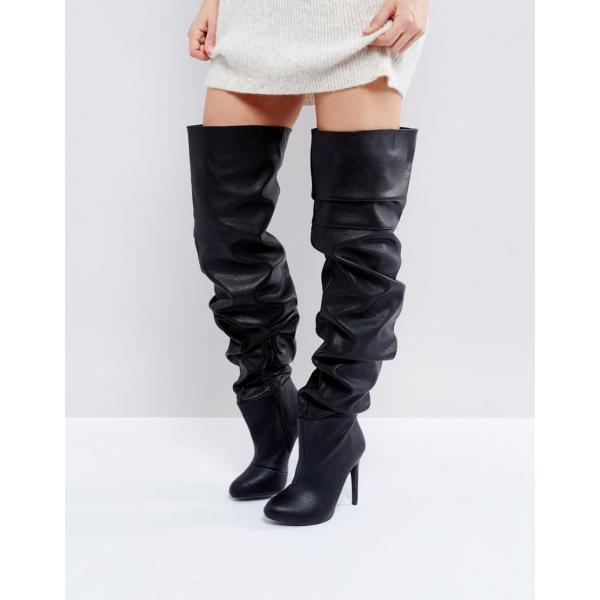 パブリックデザイア ブーツ レディース Public Desire Black Slouch Over The Knee Boots エイソス ASOS ブラック 黒 ニーハイブーツ ロング オーバーニー 靴 シ
