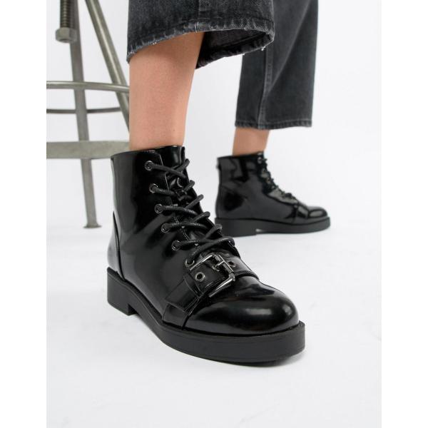 エイソス ブーツ レディース ASOS DESIGN Acoustic Chunky Biker Boots エイソス ASOS ブラック 黒