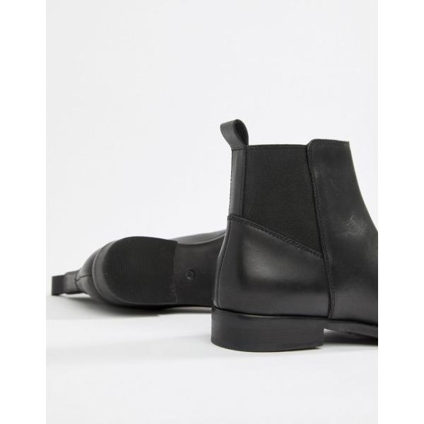 エイソス ブーツ レディース ASOS DESIGN Atom leather chelsea boots エイソス ASOS ブラック 黒