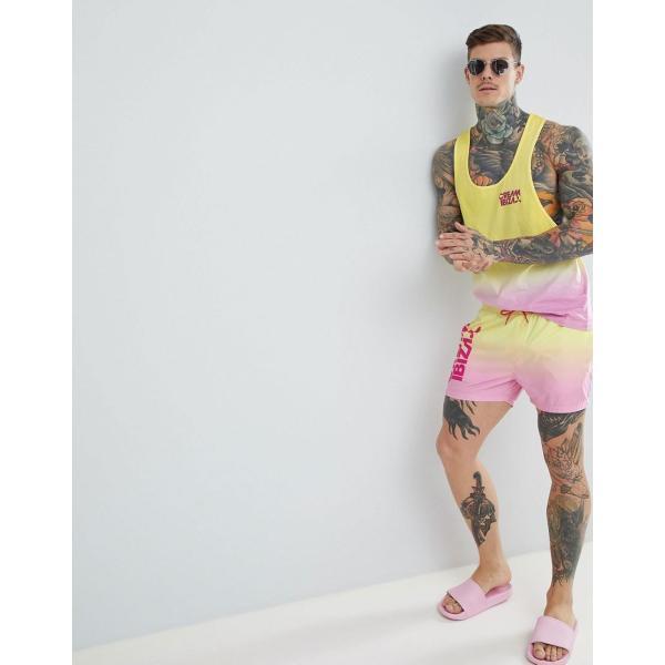 エイソス 水着 メンズ ASOS DESIGN Co-Ord Swim Shorts With Cream Ibiza Print In Short Length エイソス ASOS プリント 日本未入荷 新作 人気 インポート|colors-kira|04