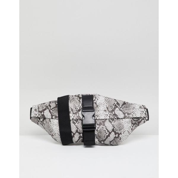 エイソス ショルダー メッセンジャー バッグ メンズ ASOS DESIGN faux leather cross body bum bag in snake print and front clip エイソス ASOS グレー 灰色