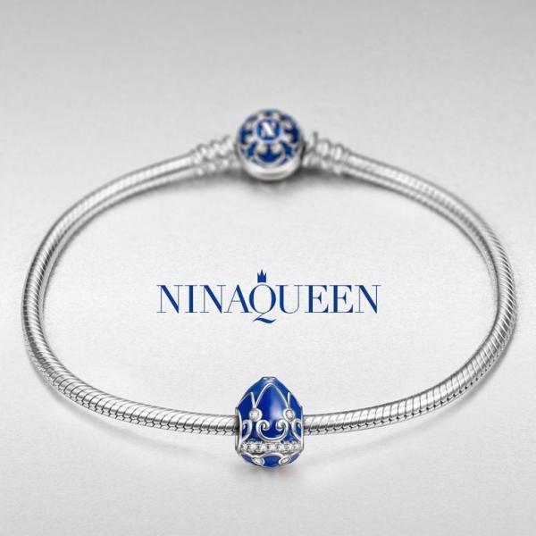 チャーム ブレスレット バングル用 Style Nina Queen スタイル ラッキーイースターエッグ 幸運のイースターエッグ ブルー