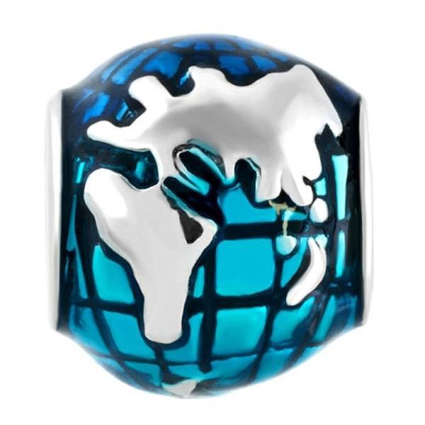 チャーム ブレスレット バングル用 CharmSStory チャームズストーリー Sterling Silver Ocean Blue Earth World Globe Charm Beads For Bracelets