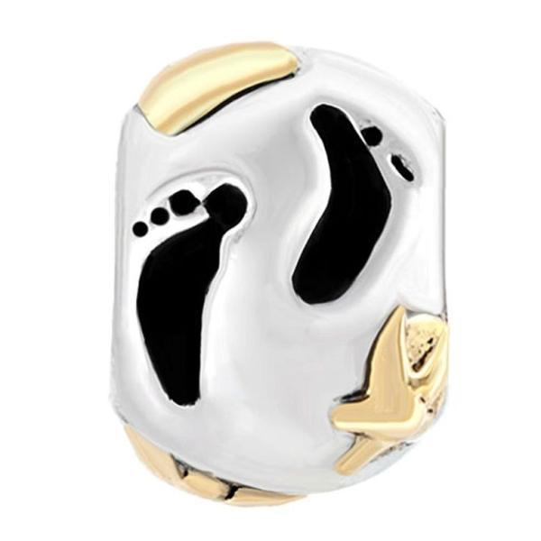 チャーム ブレスレット バングル用 CharmSStory チャームズストーリー Baby Footprint Charms Love Foot Step Beads Charms For Bracelets