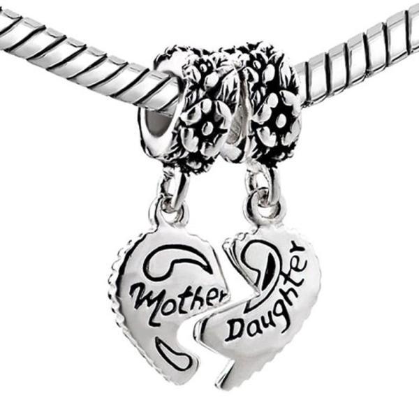 チャーム ブレスレット バングル用 CharmSStory チャームズストーリー Sterling Silver Heart Love Mom Mother Daughter Charm Dangle Beads For Bracelets