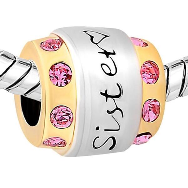 チャーム ブレスレット バングル用 CharmSStory チャームズストーリー Sister Love Family Oct Pink Birthstone Charm Beads Charms For Bracelets