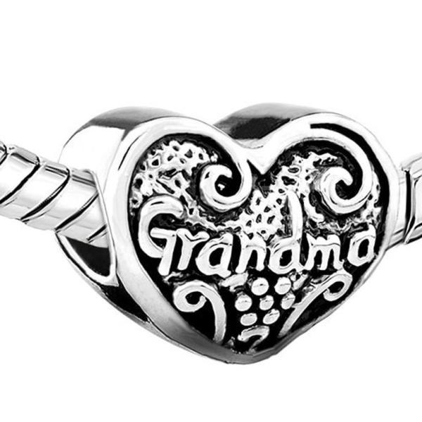 チャーム ブレスレット バングル用 LovelyJewelry ラブリージュエリー New Love Heart Grandma Grandmother Family Charm Sale Cheap Beads Fit Pandora Jewelry