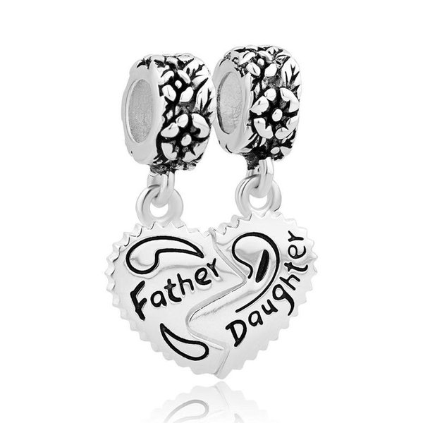 チャーム ブレスレット バングル用 LovelyJewelry ラブリージュエリー  Sterling Silver Heart Love Father Daughter Charm Sale Cheap Dangle Beads Fit Pandor