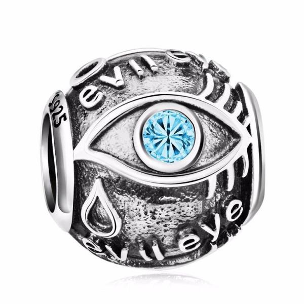 チャーム ブレスレット バングル用 Angemiel アンジェミエル 925 Sterling Silver Hamasa CZ Evil Eye Charms Bead for European Snake Bracelets Women Girl Gi