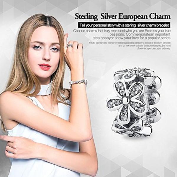 チャーム ブレスレット バングル用 BAMOER バモア BAMOER 925 Sterling Silver Various Dazzling CZ Bead Charm For Women Snake Bracelet Charm